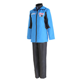 Wholesale Yuri Costume - full suit YURI on ICE Katsuki Yuri Cosplay Costume Men Sport Suit Sportwear Outfit Blue Jacket+Black Top+Black Pants Full Set