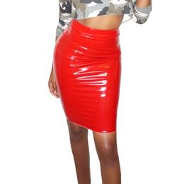 611c3ef7d07 Women s Sexy PU Skirts 2018 Spring High Waist Pencil Skirt Stretch Bright Leather  Skirt Women Ladies Knee-Length Office Skirt