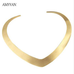 Wholesale v shape gold necklace - Collar Necklace V Shape Choker Necklace Gold Color Collares Jewelry Stainless Steel Torques Statement Fine Jewelry