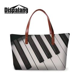 Wholesale Neoprene Handles - Hot Sale Neoprene Handbags For Women Large Capacity Shopping Tote Bag Piano Guitar Printing Ladies Party Top Handle Bags Girls Traveling Bag