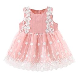 linen gauze UK - Cute Sweet Girls Party Lace Gauze Vest Dresses Buttons Fashion Linen Summer Children Pink Embriodry Mesh Girls Princesse Dress