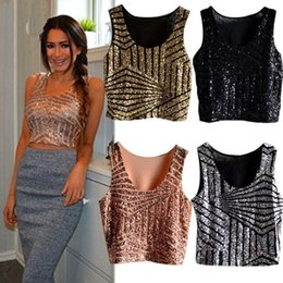 Wholesale ladies sequin tank tops - Summer Sparkly Women Crop Top Tank Sexy Lady Girls Glitter Sequin Lace Bustier Crop Top