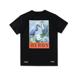 Wholesale Mens Design Shirts - INS Hot Summer Short T shirt Brand Design Double Crane Printing Street Youth Casual Short Sleeve Mens Cotton T-shirt M-2XL Size