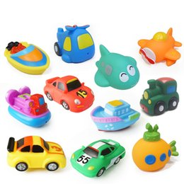 Wholesale baby bath safety - Cool Bath Toy Pool Baby Toy Child Water Spray Colorful Fighter Submarine Train Car Boat Soft Rubber Toy Boy Girl Safety Material