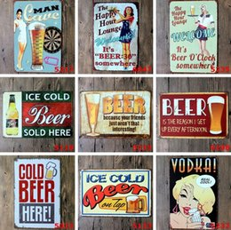 Wholesale art stickers - Ice Cold Beer Vintage Craft Tin Sign Retro Metal Painting Antique Iron Poster Bar Pub Signs Wall Art Sticker(Mixed designs)