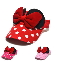 Wholesale Pink Polka Dot Bow - Hot sell children Double Bows Sun hats kids polka dots ball hats girls beach visor children cartoon cap pink red rose red A00384