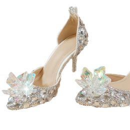 laranja casamento sapatos nupcial Desconto Lindo Casamento De Cristal Sapatos De Noiva Strass 8 cm Princesa Vermelho Prata Colorido Formal Partido Prom Sapatos Dedo Apontado Mulheres Bombas