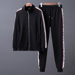 Wholesale Sports Body Suit - G Autumn Spring New Men's Casual Sweater Sports Suit Fashion Simple Upper Body Effect Good Black High-Density Webbing Black Sportswear