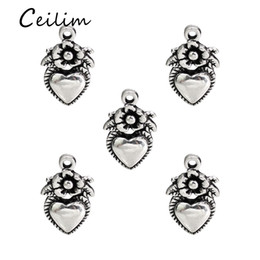 Wholesale Men Making Love - Fashion Summer Jewelry Peach Heart Flower Pendant Necklace Silver Color Men Women Pendant Necklace Accessories For Jewelry Making Findings