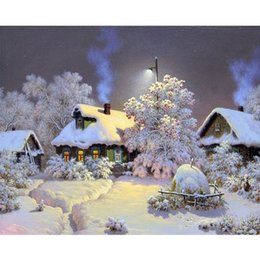 Wholesale Modern Cottage Decor - Snow View Cottage DIY Digital Painting By Numbers Kits Drawing Modern Wall Art Canvas Painting For Home Decor Artwok
