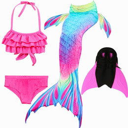 Costumi della sirena online-2018 NUOVO 4 pz / set Ariel Mermaid Tail per le ragazze Nuoto Bambini Swimmable Mermaid Tail Costume Costume Cosplay con le pinne Swimwear