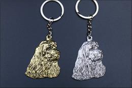 metallketten für hund Rabatt Cocker spaniel Keychain populärer Metalltierhund Schlüsselkette prägeartige silberne / goldene Farben neue Art und Weise kreativ