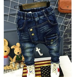 1f80d2d3291 Boys Pants Jeans Letter 2018 Fashion Boys Jeans for Spring Fall Children s  Denim Trousers Haren Kids Dark Blue Designed Pants