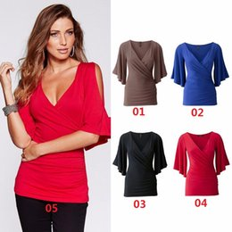 ad0c3c3c0dde Hot Sale New Women s Short Sleeve Leakage arm loose wild T-shirt Sexy  fashion V-Neck Women Tops  Tees