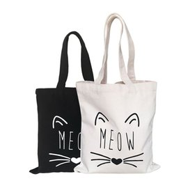 striped cotton canvas tote bags Promo Codes - Fashion shopping bag Canvas fabric reusable grocery tote big foldable striped cotton bags eco sac cute cat print sac shopping