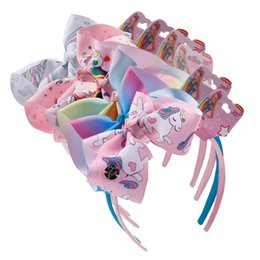 Wholesale multi color hair bows - Unicorn Headband Baby Girl jojo Siwa bows baby headbands designer headbands unicornio accessories 6 colors party supplies