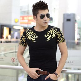 Wholesale Cool Casual Shirts For Men - Fashion T Shirts For Men Golden Print T-shirt Casual T shirt Short Sleeve Crew Neck Tops Tees Cool Tshirt