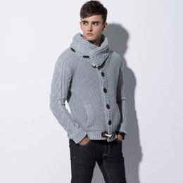 2018 hommes hiver tricot chandail col roulé chandails chandail coupe mince mâle cardigan corne bouton pull manteau foulard tricots ? partir de fabricateur