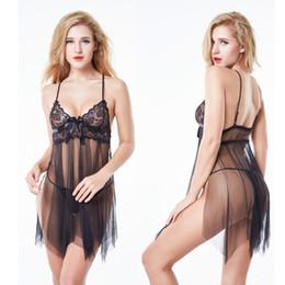 7fa74810a038a Women Sexy Nightwear Spaghetti Strap Nightgown Mini Lace Sleep Shirts Female  See-Through Women Sleepwear Night Dress Camisones