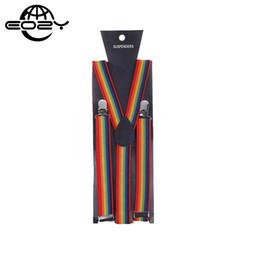 Bretelle arcobaleno online-Unisex Rainbow Bulk 10 pz / lotto Bretelle Bretelle Y Shape Back Style Tessuto elastico Clip-on Cintura Neon Glitter DCE11