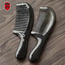 Wholesale Horn Products - Natural products 18 cm large quality natural ox horn comb wide teeth and thick round handle straight hair comb