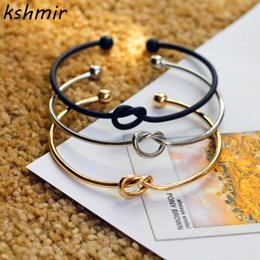 Wholesale Cast Steel Alloys - Original Design Very Simple About Pure Copper Casting Love Knot Knot Open Metal Bangle Bracelet Love Bracelet