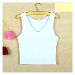 Wholesale White Tube Top Bow - Summer Slim Render Short Top Women Sleeveless v Croptops Tank Tops Solid Black White Crop Tops Vest Tube Top 6 Color