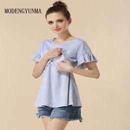 fc21ec4a6d3 MODENGYUNMA Cotton Maternity Clothing Breastfeeding Nursing Tops Pregnancy  Shirt Clothes For Pregnant Women Plus Size Wear