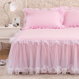 Wholesale blue bedding queen - Luxury Rufflled Bedspread Romantic Lace Bed Skirt Bed Sheet Handmade Bedspreads Twin Bed Skirts Queen Size