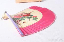 2019 processo di seta Ventaglio colorato di seta filata disegno donne processo di pittura pratica squisita bambù pieghevole fan partito facile portare 5 5my cc processo di seta economici