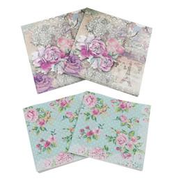 Design Serviettes en papier Tour Eiffel Rose Fête de fête Tissu Décoration florale Guardanapo 20pcs / pack / lot ? partir de fabricateur