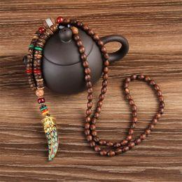 Wholesale Ethnic Long Necklaces - WEIYU Nepal Buddhist Mala Wood Beads Necklaces Natural Stone Pendant Necklace Ethnic Horn Long Statement Necklace For Women Men