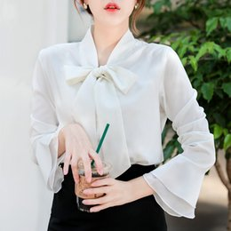 218ffacbe434b 2018 spring summer new professional women s shirt long sleeved V-neck bow  tie chiffon white shirt blouse flare sleeve for office chiffon tie neck  blouse ...