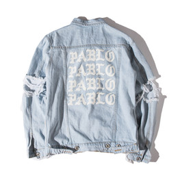 Wholesale hot ape - KANYE West Jacket Album PABLO Denim Jacket Washing Do Old Damaging Yeezus Big Broken Suprme & Apes Men Jackets Hot Sales