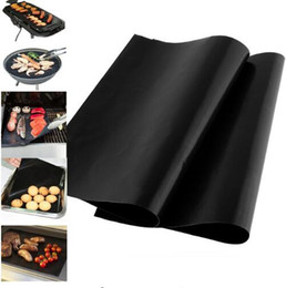 Wholesale portable charcoal bbq - Barbecue Grilling Liner BBQ Grill Mat Portable Non stick Make Grilling Easy BBQ Grill Magic Mats Plate Baking Mats Kitchen Tools KKA1849