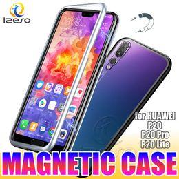 cubierta de metal huawei Rebajas Caja de metal de metal por adsorción magnética para Huawei P30 Lite P20 PRO Y9 2019 Marco de aleación de aluminio con respaldo de vidrio templado Contraportada izeso