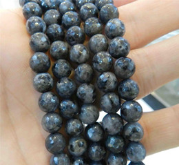 """Wholesale labradorite heart - Natural 10mm Faceted India Black Gray Labradorite Gems Round Loose Beads 15""""AAA"""