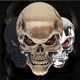 Металлические черепа золото онлайн- New and High Quality 3D Metal Gold Black Skull Skeleton Car Motorcycle Decal Stickers Emblem Badge
