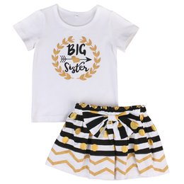 Wholesale New Big Sister - Family Matching Outfits New Toddler Baby Kids Girls Big Sister litter Sister T-shirt Romper +Dress Matching Clothes 2pcs