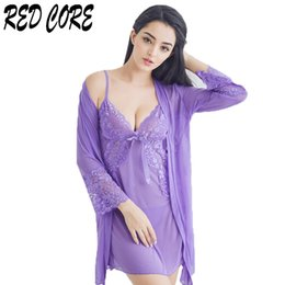 REDCORE Sexy Lingerie Lace Sleepwear Ladies Summer Three Pieces Female  V-neck Nightwear Nightgown Home Clothes Women M-XL Mujer 25767fc32