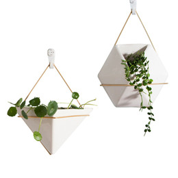 Wholesale Outdoor Garden Planters - Ceramic Whiteware Geometrical Shape Fashion Modern Vertical Wall Planter Self Watering Hanging Garden Flower Pot Planter for Indoor Outdoor