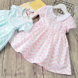 Wholesale Chevron Clothing Wholesale - Princess Dress Stripe Chevron Striped Girls Dresses Children Clothing Dress Short Sleeve Cotton Back Bowknot Doll Girl Party Dress A8876
