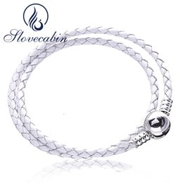 Slovecabin Lvory Weiß Geflochtenes Doppel Leder Bettelarmband Für Frauen 100% 925 Sterling Silber Weißes Seil Armband DIY JewelryY1883003 von Fabrikanten