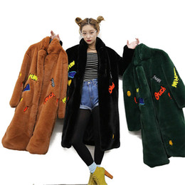 Wholesale Stand Up Collar Jackets - Chic Imitation Faux rabbit fur cartoon Smile letters pattern plush long Stand up collar thick Trench coat Faux Fur Windbreaker Long Jacket