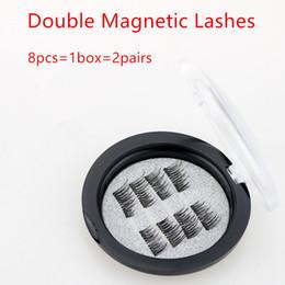 2019 meilleurs cils 8pcs = 1box = 2pairs Meilleure qualité Double Magnetic Lashes 3D Vison Réutilisable Fasle Eyelash Sans Colle dhl Livraison Gratuite promotion meilleurs cils