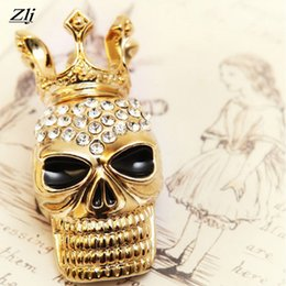 Wholesale Crystal Safety Pins - Skull Brooch Crystal Rhinestone Gold Safety Pin Male Brooch For Women Female Jewelry Wedding Party Pin Metal Brooches