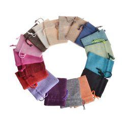 Wholesale Jewelry Sachet Bags - Plain colour Jewelry Linen Bundle pocket Sachet Activated carbon tea Rope bag 7*9cm drawstring bag T4H0300