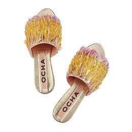 Wholesale Women Shiny Flat Shoes - New Style Gold Fringed Tassel Slides Shiny Squins Cloth Sandy Beach Summer Women Shoes Peep Toe Flat Holiday Slippers