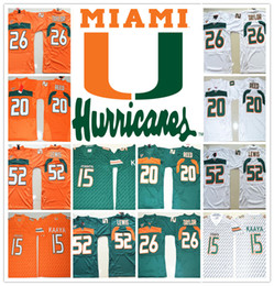 Wholesale cheap browning shirts - HOT Miami Hurricanes COLLEGE NCAA 15 Brad Kaaya 20 Ed Reed 26 Sean Taylor 52 Ray Lewis Jersey Football Jerseys Cheap Jersey SHIRT