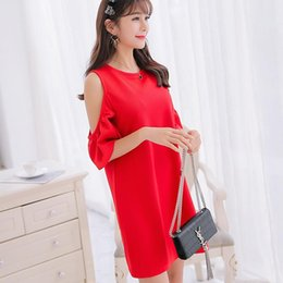 Wholesale Korean Bandage Dress - 2018 Summer Spring Girls Dress Bandage Party Fashion Sexy Plus Size Cute O-Neck A-Line Brief Korean Black Red Skirts